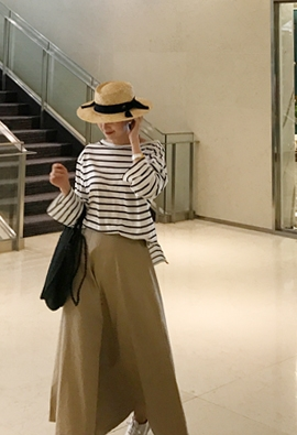 Cotton striped tee (3color)