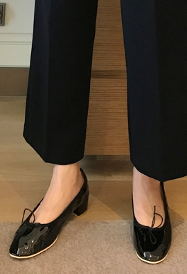 Enamel ribbon middle shoes (4color)