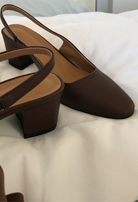 Leather middle slingback (7color)