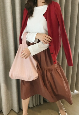 [Band type] Cotton shirring skirt (2color)