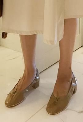 Enamel ribbon middle shoes (2color)