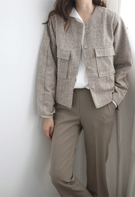 Round tweed jacket (2color)