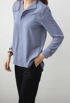 One side lapel blouse (3color)