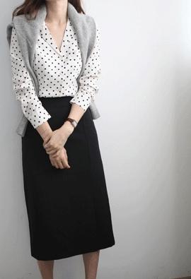 Collar dot blouse (3color)