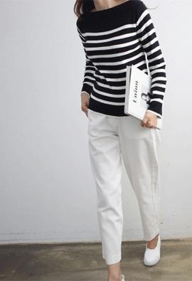 Boat neck stripe knit (3color)