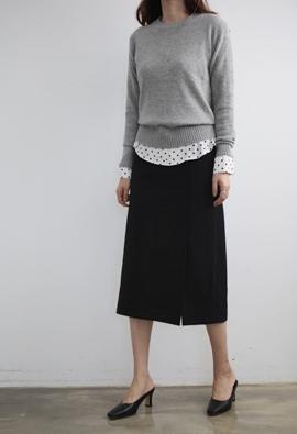 [Back band] Left slit skirts (2color)