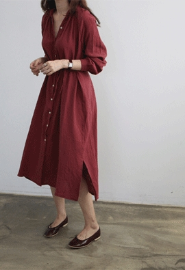 Twofold button dress (2color)
