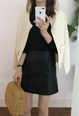 Pocket leather skirts (2color)