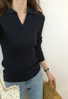 Collar ribbing knit (4color)