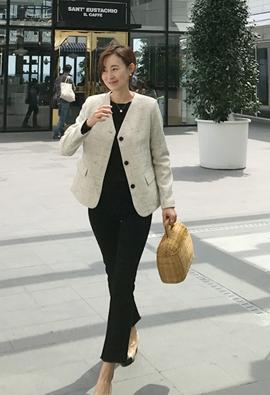 Collarless tweed jacket (3color)
