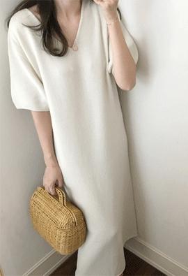 [Wholegarment] [Cashmere] Knit Maxi dress (2color)