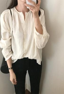 Round gauze blouse (3color)