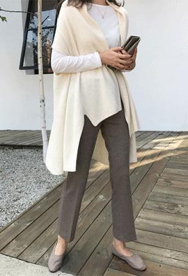 [Cashmere] Drape shawl cardigan (ivory)