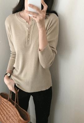 Button soft knit (4color)