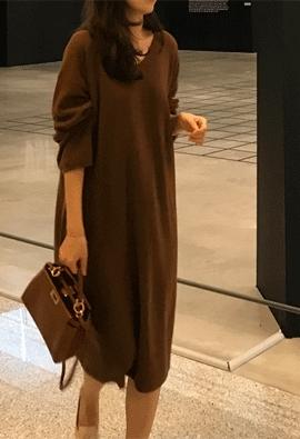 [Cashmere] mode knit dress (2color)