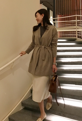 [Cashmere] While belted cardigan (beige)