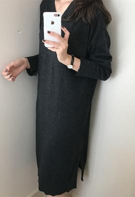 [Cashmere] Slit knit dress (2color)