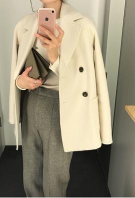 [Cashmere] Patch pocket pea coat (4color)
