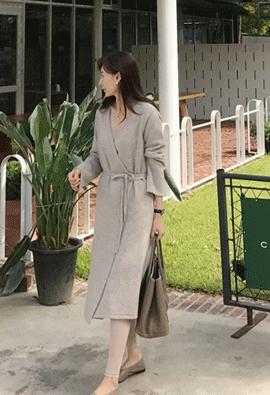 [Cashmere] knit wrap dress (beige)