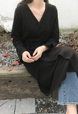 [Cashmere] Knit wrap dress (2color)