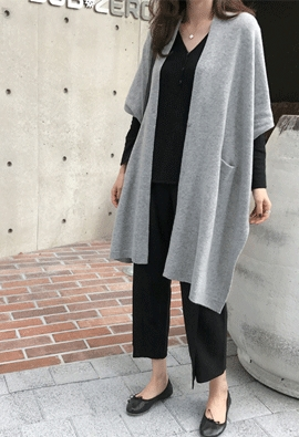 [Cashmere] Poncho shawl cardigan (2color)