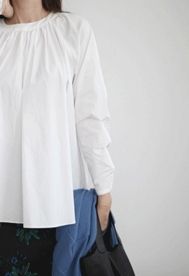 Rounded shirring blouse (2color)