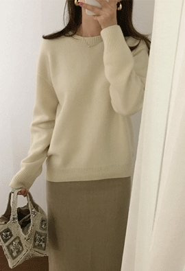 [Wholegarment] [Cashmere] More round knit (4color)