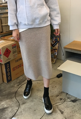 Knit midi skirts (4color)