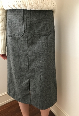 [Back band] Check pocket skirts (2color)