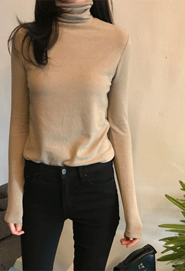 Wool turtleneck tee (5color)