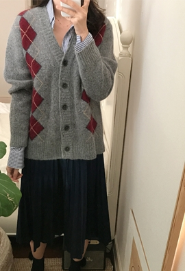 Argyle plaid cardigan