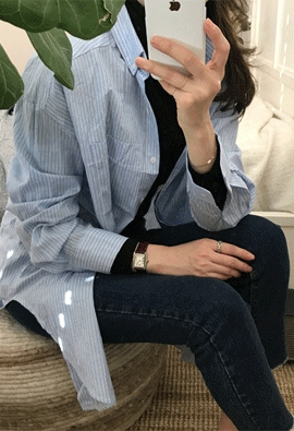Double stripe long shirts (2color)