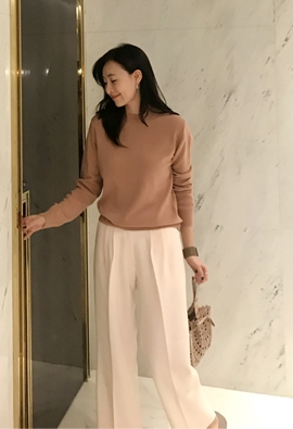 [Cashmere] Leaf knit (4color)