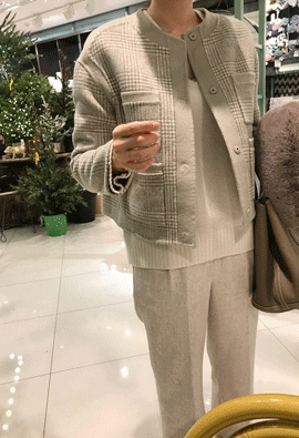 [HandMade] Glen check jacket (beige)