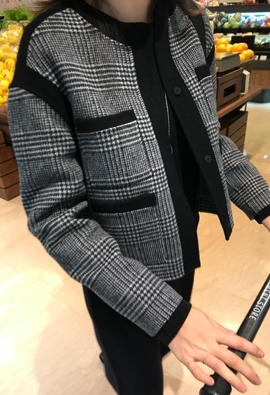 [HandMade] Glen check jacket (black)