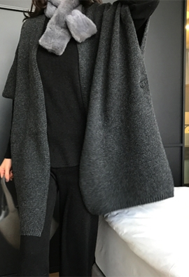Button shawl cardigan (charcoal)