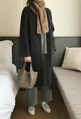 Angora cardigan coat (charcoal)