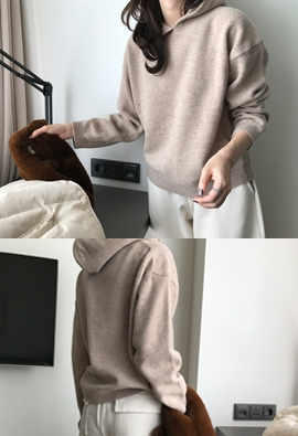 [Cashmere] Hooded knit (2color)