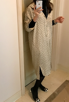 Dotted shirt dress (2color)
