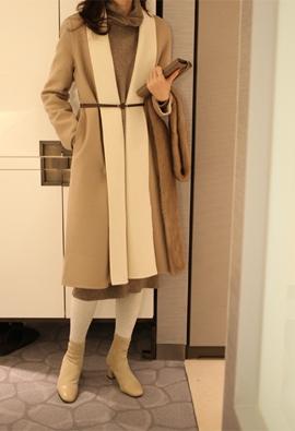 [Wool 100] [Belt set] Shawl collar matching coat