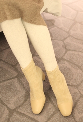 Socks ankle boots (beige)