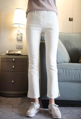 [Brushed] [band] Slit bootcut pants (ivory)