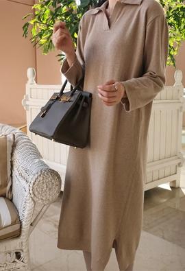 [Wool 100] Collar slit knit dress (3color)