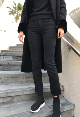 [Brushed] 160 black pants