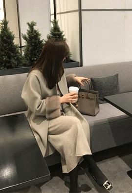 [Wool + cashmere] Blended mink coat (2color)