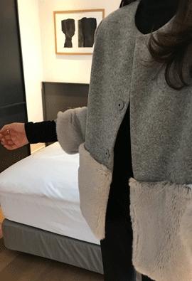 Fur trimming jacket (2color)
