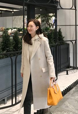 [Wool 100 / muffler set] Beige check coat