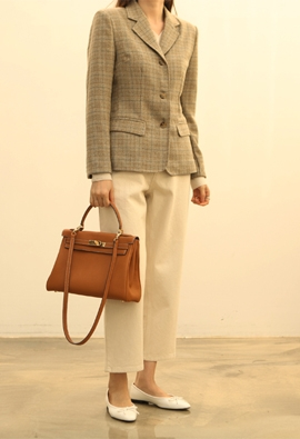 London check jacket (beige)