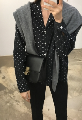 Dot collar blouse (3color)