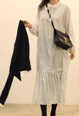 Ribbon dot dress (2color)